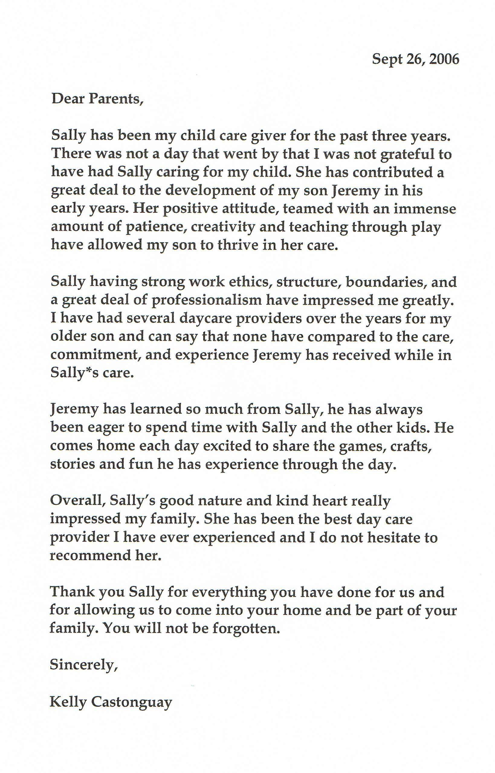 references home grown kids day care reference letter castonguay